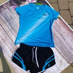 FILA Blue Workout Outfit - Top & Matching Shorts